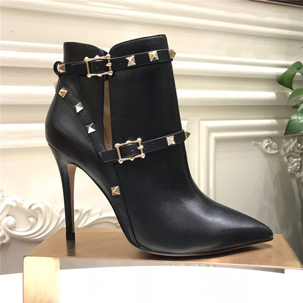Mulheres Botas de salto alto de couro preto, Bota rebitada no tornozelo em botas de salto de couro genuíno com fivelas tamanho 35-40 com caixa