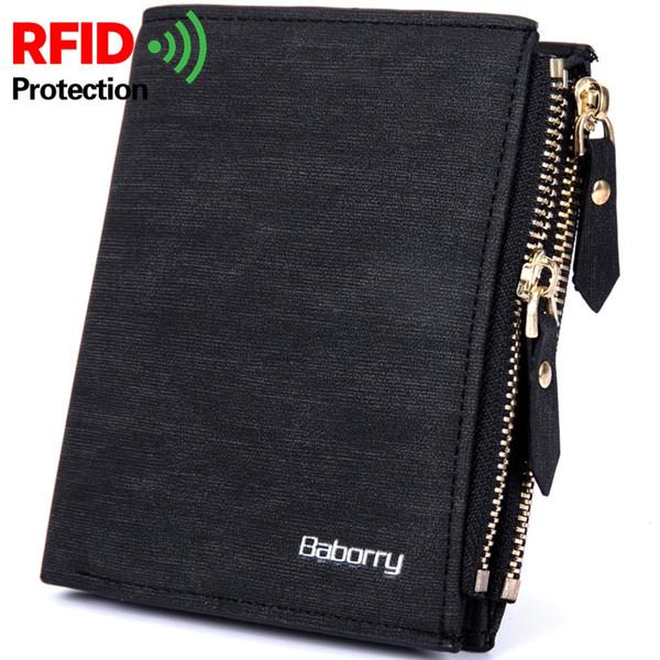 Baborry RFID Protect Herren Geldbörse Solide Weiche PU Geldbörse Kartenhalter Kurze Geldbörsen Design Schlanke Geldbörse für Herren Geldbeutel Herren # 124864
