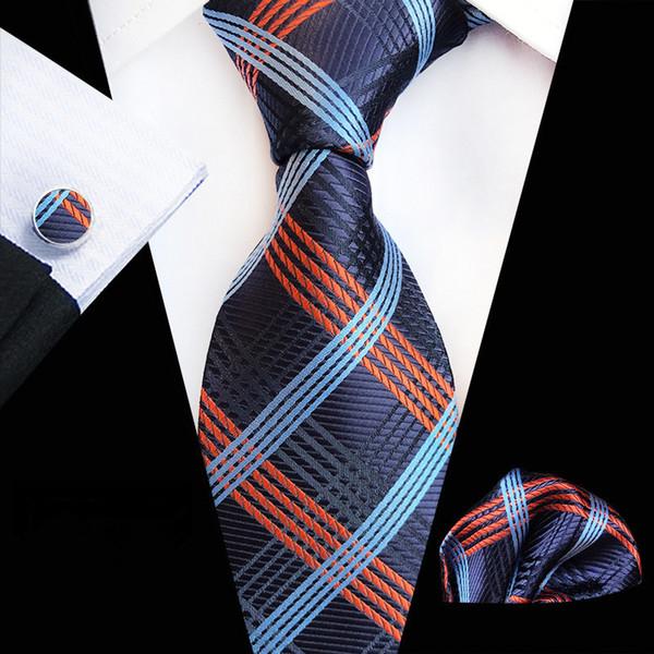 Acheter 2019 Mans Floral Plaid Tie 100% Soie Jacquard Cravate Cravate Boutons De Manchette Mouchoir De Mariage Cravate Ensemble Pour Hommes Parti