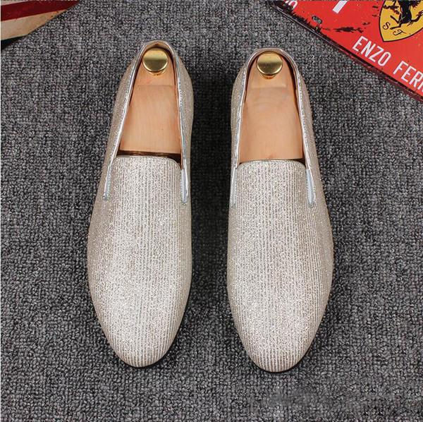 British Style Men Fashion Canvas Geschäftsschuhe Leder Spitzschuh Slip-On Klassische Designer-Hochzeit Penny beiläufige flache Schuhe