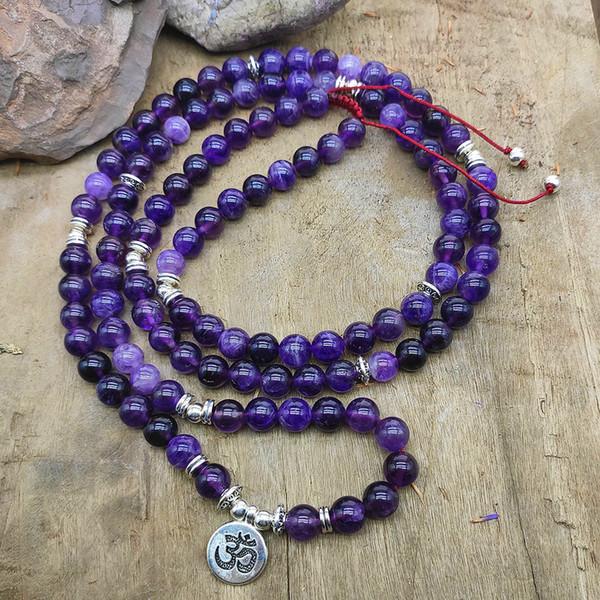 chakra femmes collier ame-thyst 108mala collier bracelet méditation yoga bijoux OM lotus Bouddha Charme pendentif collier dropshi