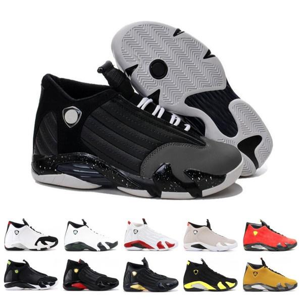 2019 Chaussures Homme Chaussures de basket 14 14s Revers Or Rouge Candy Cane Last Shot Toe Noir Désert de sable de Thunder DMP Sport Suede Sneakers