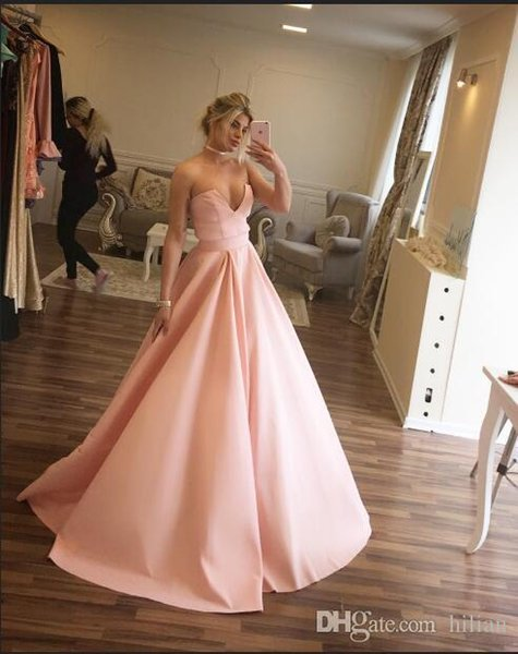 Women Strapless Deep V Neck Full Length Pink Taffeta New Evening Dress Modern Prom Dress For Formal Occasion Party Hand made Plus Size