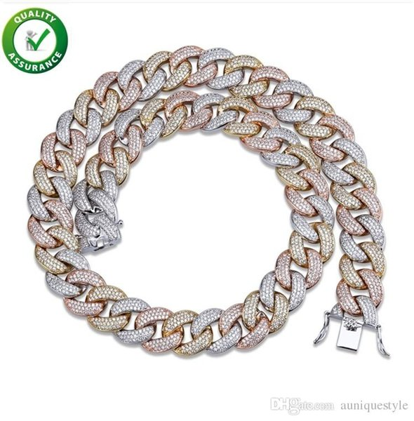 Gioielli firmati Hip Hop Catene in oro Mens Luxury Iced Out Cuban Link Chain Statement Collane Micro pavimentato CZ Diamond Punk Fashion Wedding
