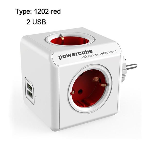 EU Plug - 1202red-USB