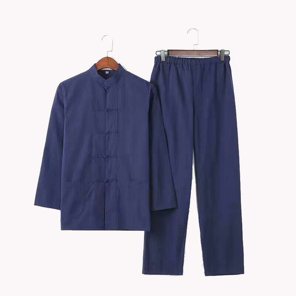 2PC Men's Solid  Suit Chinese Traditional Male 100% Cotton Loose Wu Shu Tai Chi Sets M-4XL Jacket+Long Pants YZT0808