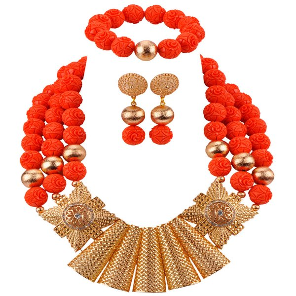 New Design Fashion Artificial African Coral Necklace Jewelry Set Nigerian Wedding Bridal Jewelry Sets Dubai Gold Jewelry CBS47