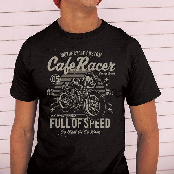 Cafe Racer Full Of Speed Motorcycle Retro T Shirt Vintage 100% Cotton Tees Round Neck Awesome Tops Men Short Sleeve T-shirt Q190518