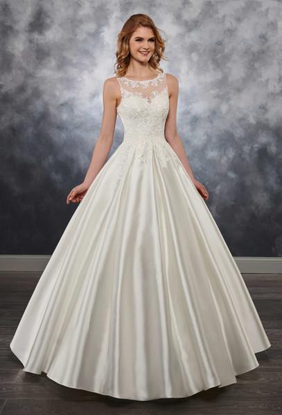 Грейс Слоновой Кости драгоценный камень атласная аппликация трапеция свадебные платья свадебный конкурс платья свадебные наряды платья на заказ размер 2-16 KF1125163 бесплатная упаковка