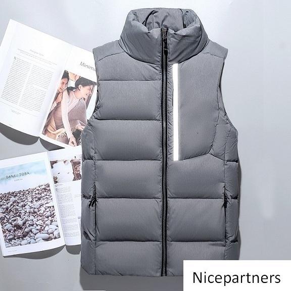 Los hombres de moda de invierno abajo concede las chaquetas para hombre Weskit pluma chalecos abajo cubre el chaleco chaqueta para hombre casual con reflectante tira