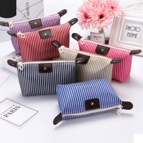 Fashion Dumpling Striped Cosmetic Bag Small Travel Waterproof Makeup Case Organizer Toiletries Holder Clutch Pouch LJJR930