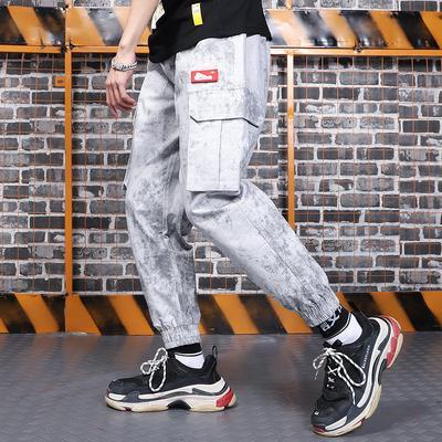 Rua multi-bolso pesada lavar a água macacão macacão tie-tingido apertado pé mens moda firmemente desenhistas
