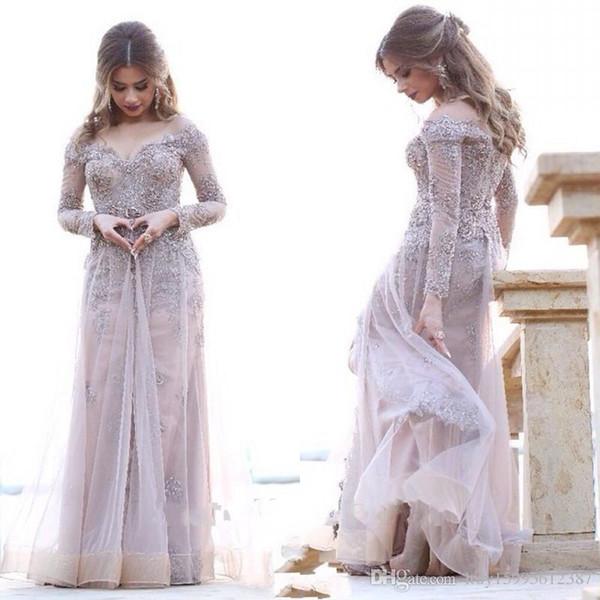 2019 Novas Mulheres Muçulmanas Vestidos de Dubai Kaftan Lace Cristal Frisada A Linha de Vestidos de Noite Mangas Compridas Árabe Vestido de Festa de Baile ...