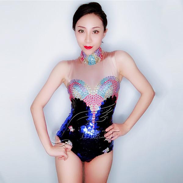 Sexy Flaco Club Nocturno Mono Colorido Lentejuelas Cristales BodySuit Traje de Cumpleaños Trajes de Fiesta Piedras Strest DWY1362