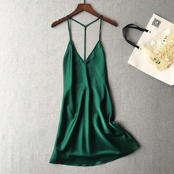 Пижама Femme Женское бельё Sexy Ladies Silk атласного платья без рукавов ночных рубашек V шеи Nightgown Летней ночь платья пижамы для женщин