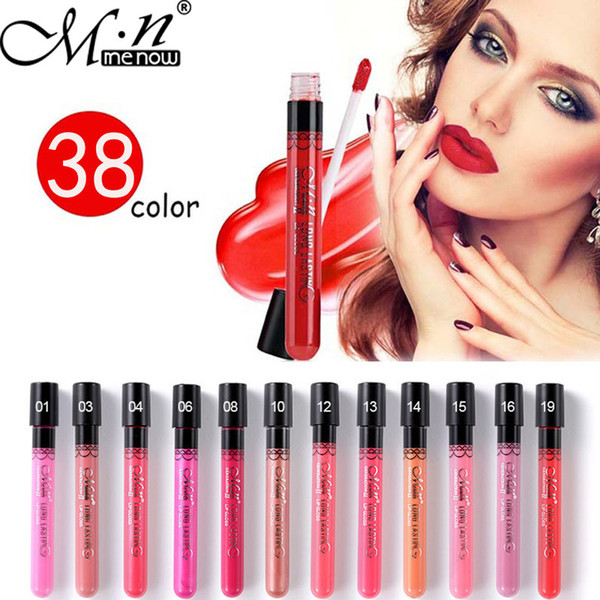 Menow Marca 38 Color Lipgloss Mate Crema Hidratante de Larga Duración Sexy Brillo de Labios Impermeable Belleza Líquido Lápiz Labial Cosmético
