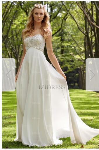 A-Line/Princess Empire Strapless Sweetheart Court Train Chiffon Wedding Dress 46