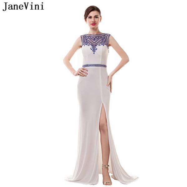 vente en gros vintage plus la taille des robes de demoiselle d'honneur balayage train 2018 sexy haute split blanc sirène formelle robes de bal avec