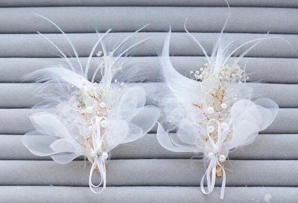 Feather silk gauze hair clip bridal wedding dress hair adorn Korean bridal flower hair pin