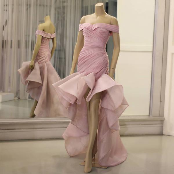 Abiti Polvere rosa della sirena massimo minimo di promenade fuori dalla spalla pieghettata vestito convenzionale increspato Organza su ordine degli abiti di sera