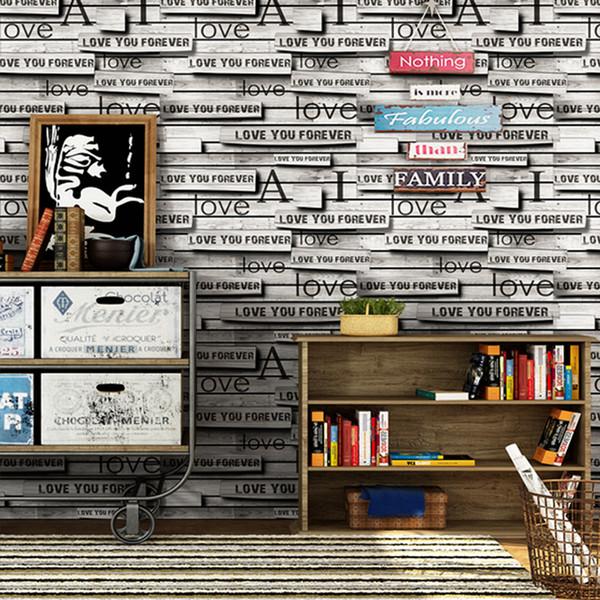 5.3 metri quadri 3D stereoscopico giunzione mattoni di legno carta da parati personalizzata lettera inglese in legno di mattoni rotti decorazione della parete della carta di parete del PVC di arte