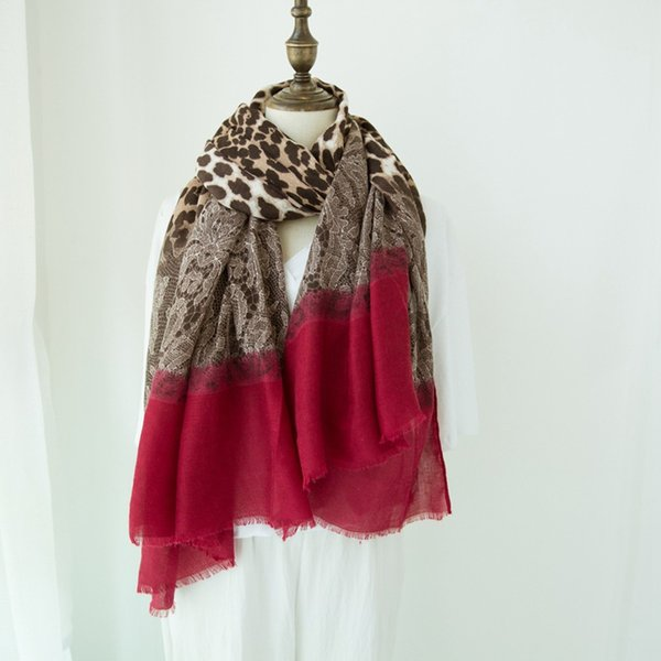 2018 Autumn Winter Ombre Lace Leopard Patchwork Printed Viscose Shawl Scarf Ladies Fashion Warp Neck Snood Pashmina Muslim Hijab
