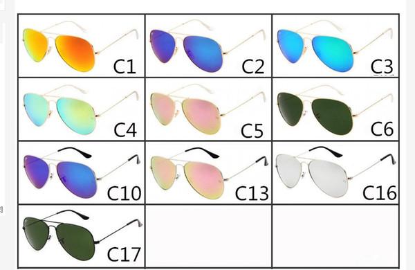 New fashion Designer Classic Sunglasses Mens Womes Sun Glasses big frame Glass Lenses Large Metal frame High Quality colors 17 MOQ=10