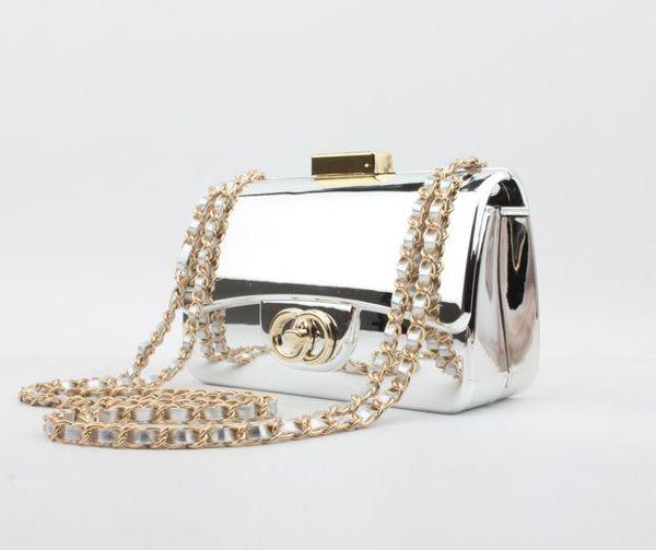 top popular High-end fashion brand designer ladies' bags Women's CHA*EL Acrylic Mirror Handbags Bread Shoulder Chain Mini Clutch evening bag 17.5*11 2019