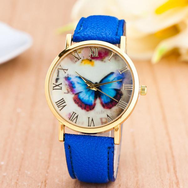 роскошные часы женщины платье браслет часы мода бабочка стиль Кожаный ремешок аналоговые кварцевые женские Наручные часы montre femme #N03