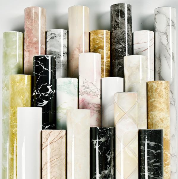 top popular Kitchen oil stickers self-adhesive marble pattern waterproof cabinet stove countertop wall decor paper desktop bathroom renovation wallpaper 2021