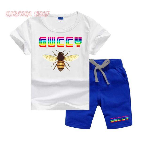GVCH Küçük Çocuklar Setleri 1-7 T Çocuklar T-shirt Ve Kısa Pantolon 2 Adet / takım Bebek Erkek Kız 95% Pamuk Desen Tasarım Baskı Tarzı