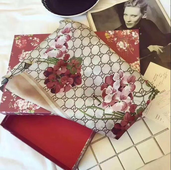 Nueva alta calidad clásico europeo y americano Lujo estilo caliente diseñador de la marca de seda impresa bufanda elegante dama envolver bufanda D0235