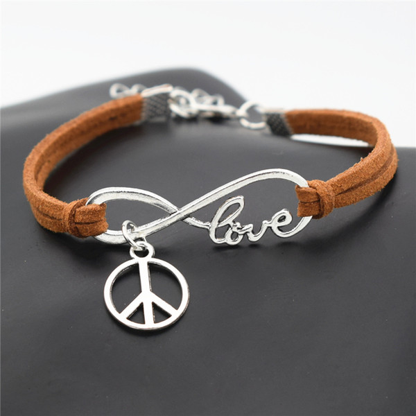 Infinity Love Peace Sign Round Pendant DIY Charm Bracelet for Women Men Everyday Jewelry Handmade Brown Leather Suede Rope Cuff Bangles Gift
