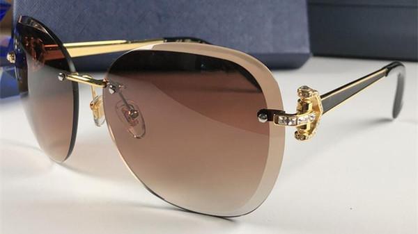 Lunettes de soleil populaires pour lunettes de soleil de style papillon sans cadre pour femmes, 18S, atmosphère élégante et haut de gamme