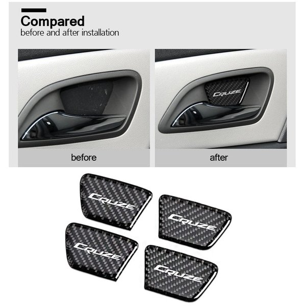 4 Pz / set Chevrolet 2009-2015 Cruze Logo Distintivo di marca Porta interna in fibra di carbonio Coperchio decorativo Adesivo trim decalcomanie Emblema