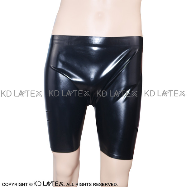 Black Sexy Latex Long Leg Boxer Shorts Fetish Rubber Boy Shorts Underpants Underwear Bondage Pants Plus Size DK-0009