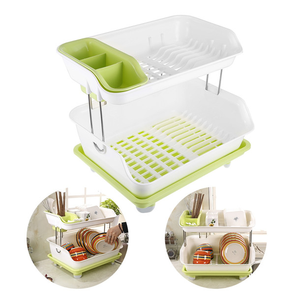 Double Layer Kitchen Dishes Draining Rack
