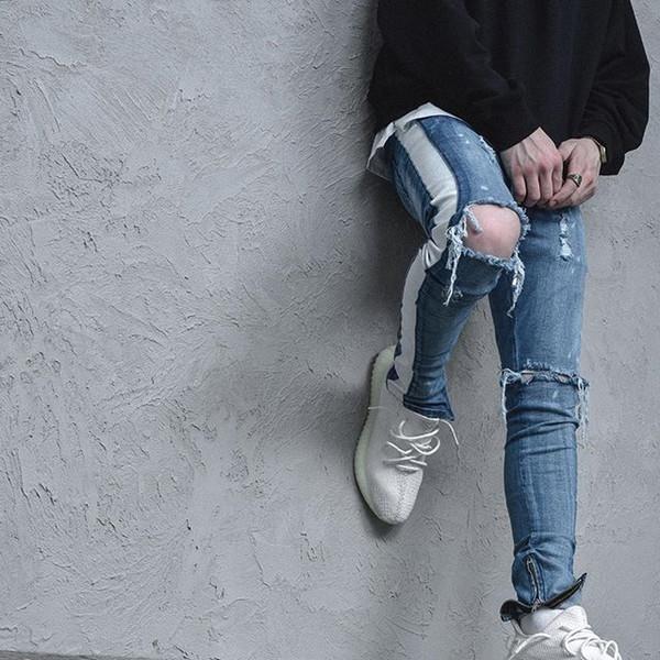 Uomini di marca Jeans strappati strappati Fashion Designer Hip Hop Pantaloni da uomo Slim Fit Biker Biker in denim