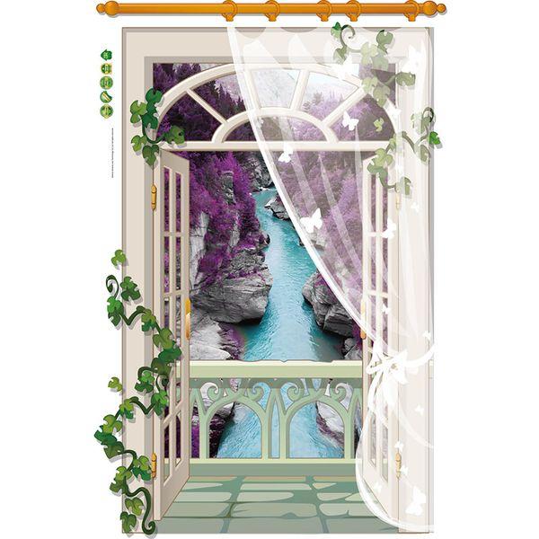 3D False Windows Landscape Wall Stickers Home Decor Living Room Bedroom Flower Vine Wall Decals Screens River Art Mural Poster
