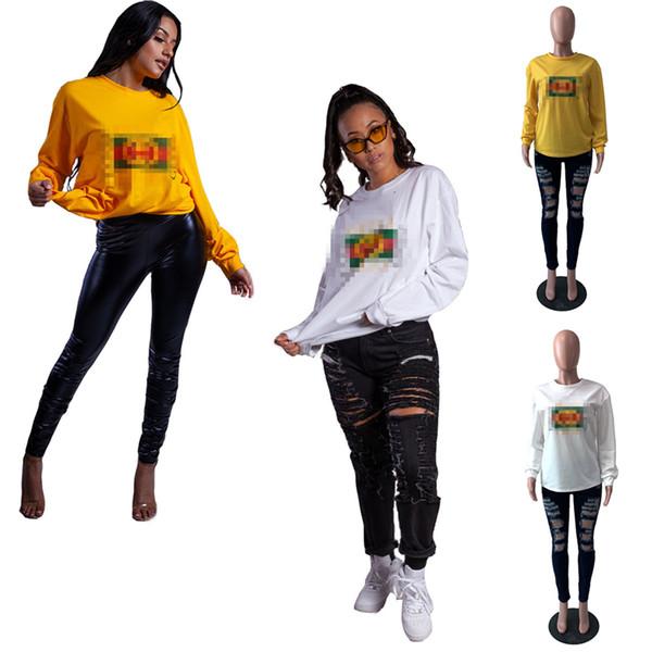 Felpa da donna firmata di marca manica lunga girocollo pullover con cappuccio maglione 2019 moda autunno maglietta allentata top outwear caldo C82005