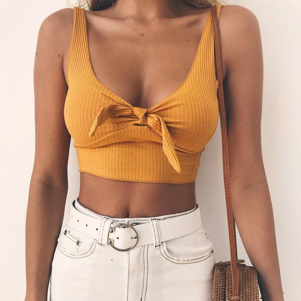 top popular Brand Designer Bow Tie Camisole Tank Tops Women Summer Basic Crop Top Streetwear Fashion 2019 Cool Girls Cropped Tees Camis Free Shipping 2021