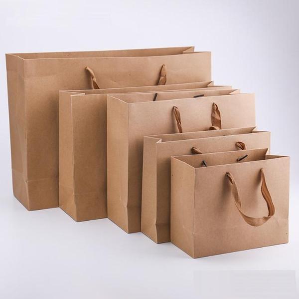 Bolsa de papel kraft con asa bolsa de banquete de boda Bolsas de papel de regalo de tela de moda Multifunción mayorista c536