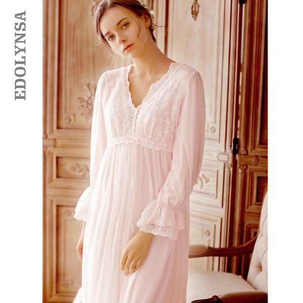 European Style Vintage Night Dress Plus Size Lace Sleepwear New Spring Long Pink Cotton Nightgowns Elegant Home Dress T41
