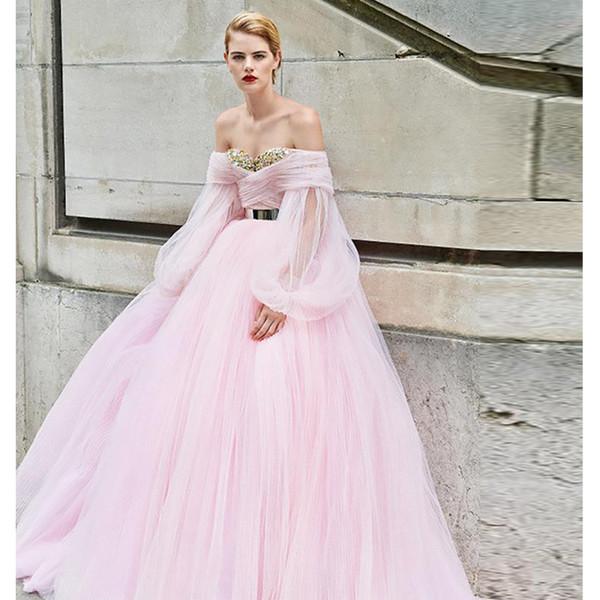 Verngo 2019 Pink Tull vestido de noche vestido de noche de la vendimia vestido formal por encargo Abiye Gece Elbisesi vestidos largos