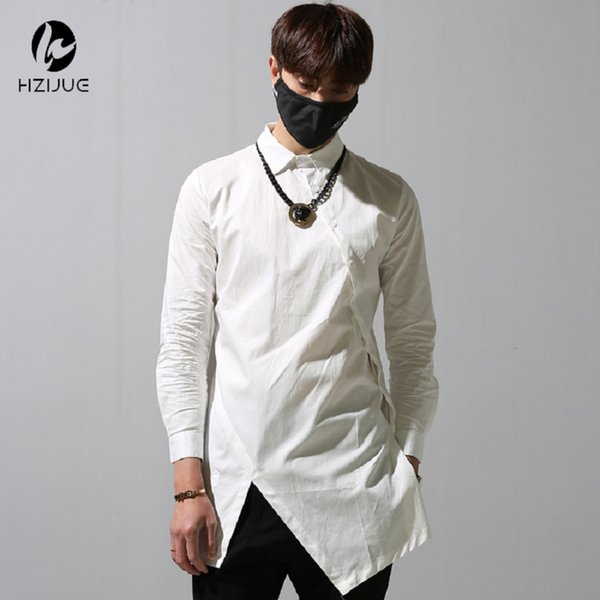 hot-selling Long Sleeve Tyga Swag Style Mens Side irregular Split Hip Hop Top Tee T Shirt Crew T-shirt Men Clothes D18122902