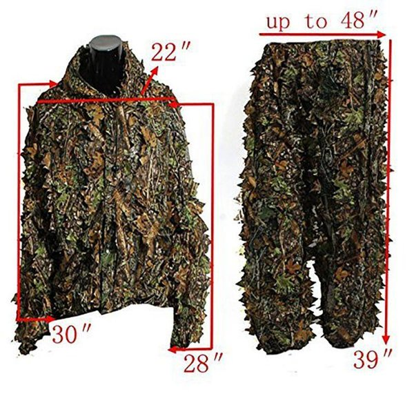 Outdoor Camouflage Leaf Ghillie si adatta a Woodland Camo Free Size Jungle Hunting Abbigliamento 3D Jungle Hunting