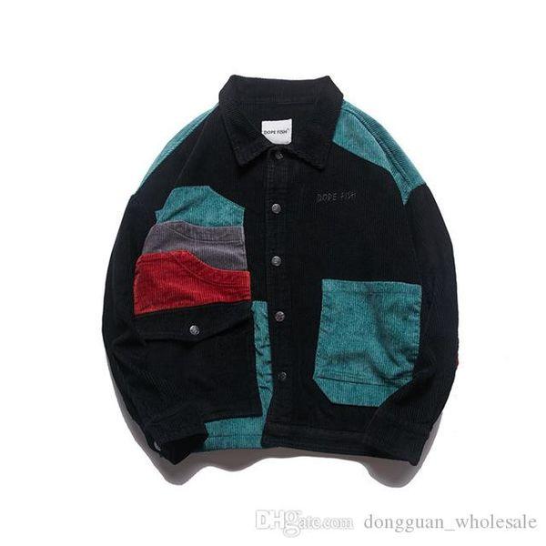 2018 Hiphop Jacket Men Corduroy Splice Japanese Harajuku Autumn Winter Vintage Punk Jacket Coat Men Brand Bomber Baseball Jacket