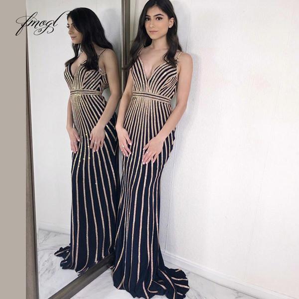 Fmogl 2019 Kılıf Balo Elbise V Yaka Spagetti Sapanlar Payetli Çizgili Tasarım Backless Özelleştirilmiş Parti Örgün Abiye Sweep Kat