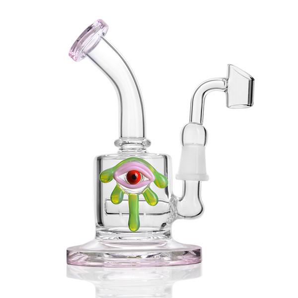 розовые стеклянные бонги Таинственный ГЛАЗ водопроводные трубы Мини барботер Табак Сигарная трубка Кальян с бейджер-маслом