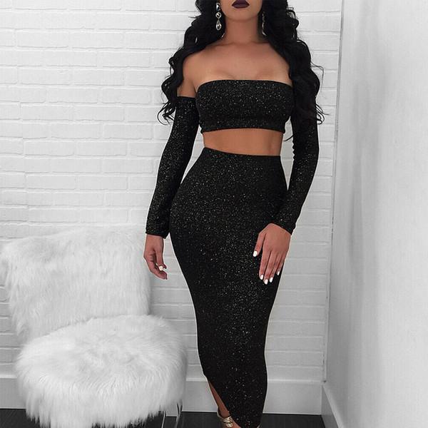 Сексуальное женское платье устанавливает женскую одежду с плеча с длинным рукавом и длинной юбкой 2 шт. Соответствующие костюмы женская вечеринка 2 шт. Набор